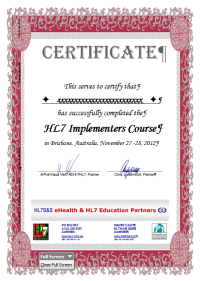 Adelaide HL7 Education Course Certificate